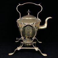 Antique Brass Tilting Spirit Kettle — Henry Loveridge Stamp On Burner — Good