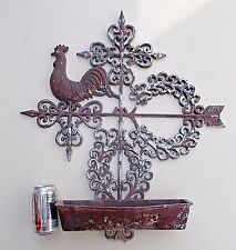 """Vintage 1961 Burwood Rooster Weathervane w/ Planter Distressed Rustic 27"""" Tall!"""