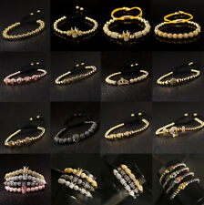 Luxury Multi-styles Men Women Micro Pave CZ Crown Copper Bead Adjust Bracelets