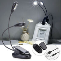 1/2/3/4/6/8 LED Light Dimmable Clip-On Desk Table Reading Book Lamp USB/Battery