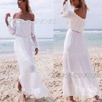 Women Sexy Beach Summer Chiffon Long Dres Cocktail Party Ball Gown Evening Dress