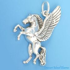 BEAUTIFUL PEGASUS ~ WINGED HORSE .925 Sterling Silver Charm Pendant MADE IN USA