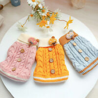 KQ_ Winter Pet Dog Puppy Soft Warm Twist Buttons Color Contrast Sweater Clothes