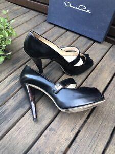 oscar de la renta High Heel Shoes Pumps Mary Janes With Platform Sz 37 / 6.5
