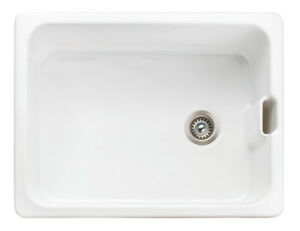 Rangemaster Farmhouse Belfast CFBL595WH Single Bowl Ceramic Sink & Waste Kit