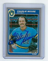 1985 BREWERS Charlie Moore signed card Fleer #589 AUTO Autographed Milwaukee