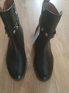 Per una dress Ladies Black Leather Ankle Boots Uk Size 5.5