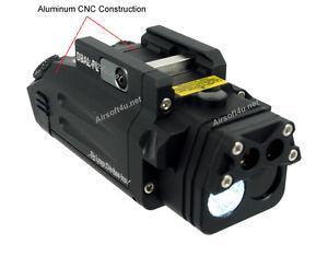 Tactical BLK HM DBAL-PL Dual Beam Aiming Flashlight Red Laser & IR Pistol Light