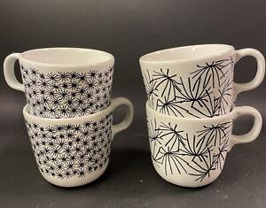 Ikea Maria Vinka Ungdom Black & White Starburst Coffee Mug Tea Cup 7oz. Set of 4