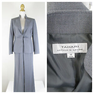 Tahari Womens Solid Gray One Button Pant Suit Size 10 Formal Business Career
