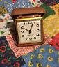 Westclox Travel Alarm Clock. Brown Case Plastic. Wind Up