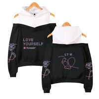 Kpop BTS Love Yourself 結 Answer  Hoodie Off-Shoulder Sweater Loose Pullover Coat