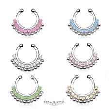 1Set Unisex Fake Septum Clicker Nose Ring Non Piercing Hangers Clip On JewelryYJ