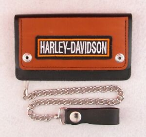Customized Harley Davidson Leather Biker Trucker Motorcycle Chain Wallet Patch