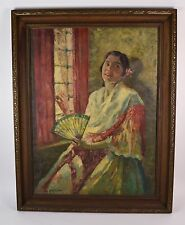 1920's Impressionist Oil Painting of Mexican Woman William Hiller California