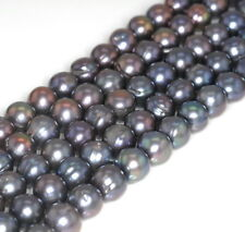 10-11MM GREY NATURAL PEARL GEMSTONE GRADE AAA ROUND LOOSE BEADS 7""