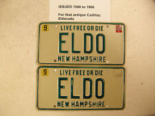 "Cadillac Eldorado "" ELDO "" 79-87 YOM New Hampshire Antique License Plate 1984"