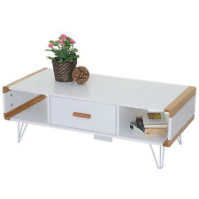 Table basse de salon Toledo, table d'appoint avec bambou, blanc 100x45x35cm