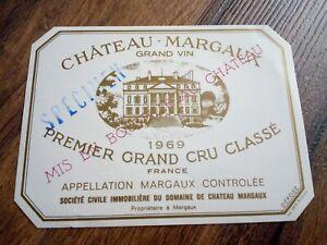 WINE LABEL/vin etiquette - CHATEAU MARGAUX 1969 - RARE