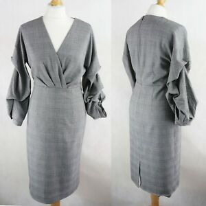 ZARA Checked Pencil Puff sleeve Dress SIZE M UK 10-12 Formal Business Office