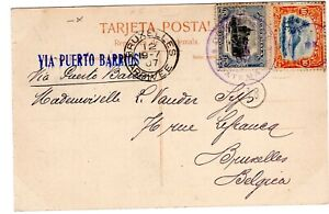 GUATEMALA: Postcard via Puerto Barrios to Belgium 1907, Arr.canc.