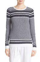 * NWT VINCE Graphic Stripe Cotton Slub Crew sweater, M  White/Coastal Blue