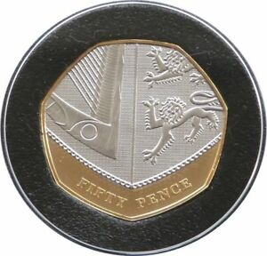 2009 Celebrating 40 Years Royal Shield 50p Fifty Pence Gold Plated Proof Coin