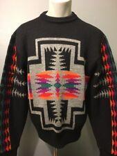 Vtg 80s Pendleton Black Wool Sweater Mens M Navajo Aztec Tribal Indian Southwest