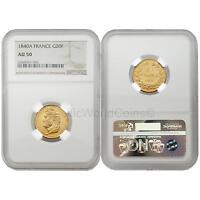 France 1840A 20 Francs Gold NGC AU50