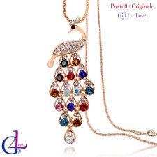 Collana donna oro Swarovski Elements originale G4Love cristalli Pavone strass