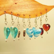 Wholesale Lot 10 PCS Assorted Styles & Colors Handmade Glass Bead Heart Earrings