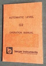 Berger Instruments Automatic Level G2 Operation Manual