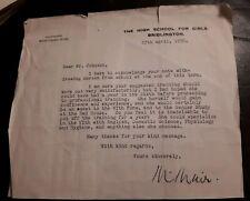 1950 Letter / Letterhead BRIDLINGTON SCHOOL FOR GIRLS, Social History, Ephemera