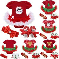US Infant Baby Girls Christmas Outfit First Xmas Party Romper Tutu Dress Clothes