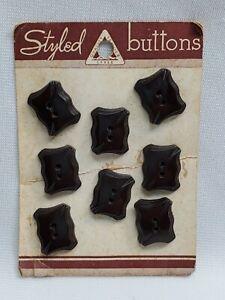 """8 Bakelite? Art Deco Buttons on Card Coat Jacket Brown Rectangular 3/4"""" x 5/8"""""""