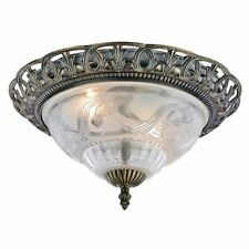 Traditional and Classic Antique Brass and Floral Glass Flush Ceiling Light by...