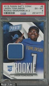 2015 Panini National Convention #8 Laken Tomlinson Lions RC Rookie Patch PSA 6