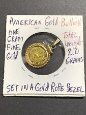 Fine Gold American Bullion in Rope Bezel Pendant 1.95 grams Total Super Nice!