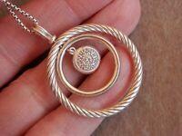 "David Yurman Sterling Silver Pave Diamond Circle Mobile Pendant Necklace 18"""