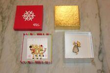 Pair! Nib Kim Rogers Holiday Pins Brooches! Partying Reindeer & Sweet Angel!