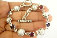 White Mabe Pearl Purple Amethyst Balinese Ornate 925 Sterling Silver Bracelet