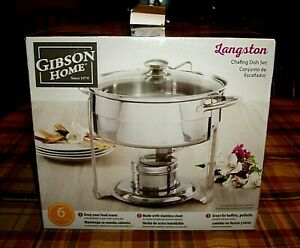 New Gibson Home Langston 6 Pc Chafing Dish Set 4.5 QT Stainless Steel MAKE OFFER