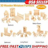 34Pcs 3D Wooden Puzzle DIY Miniature Furniture Dollhouse Building Mode kids Gift