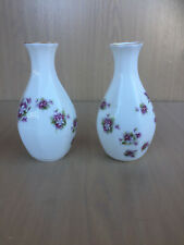 2 x VASES Sweet Violets Royal Albert Purple flowers 1966 England