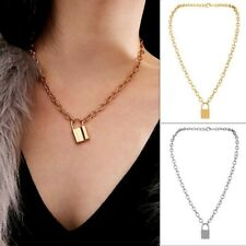 Fashion Punk Link Chain Gold and Silver color Padlock Pendant Necklace Women Men