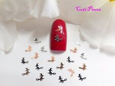 50pc Nail Art Sliver Rose Gold Halloween Witch Broomstick Thin Metal Spangle HW1