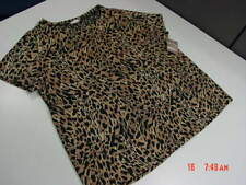 NWT NWOT Womens White Stag Leopard Print Top Blouse Elegant Classy Everyday Lady