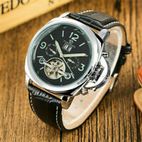 FORSINING Date Month Leather Strap Men Self-Wind Mechanical Wrist Watch Reloj