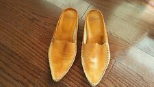 """Calzature """"David"""" Leather Tan Slip on BABOUCHE SLIPPERS Shoes Low Heel US7 EU37"""