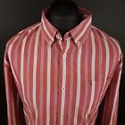 Tommy Hilfiger Mens Vintage Shirt XL Long Sleeve Red Custom Fit Striped Cotton